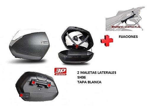 Kit SHAD fijacion + Maletas Laterales Tapa Blanca SH36 Compatible con BMW R1200R (15-17)