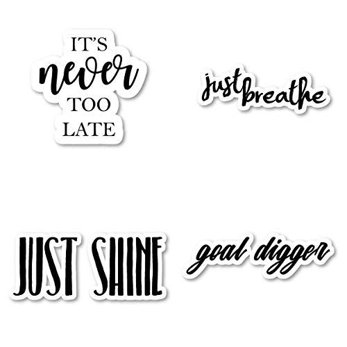 Just Breathe Its Never Too Late Goal Digger Just Shine Sticker Pack Motivational Stickers - 4 Pack - Laptop Stickers - for Laptop, Phone, Tablet Vinyl Decal Sticker (4 Pack) S211285