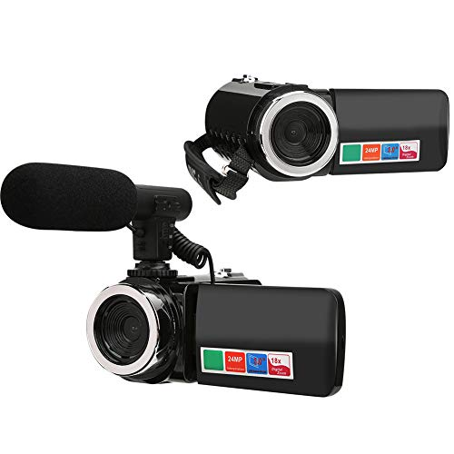 Tosuny Digitaler Camcorder Tragbare 3-Zoll-LCD-Videokamera mit 18-fachem Digitalzoom HD-Camcorder YouTube-Videokamera(mit Mikrofon)