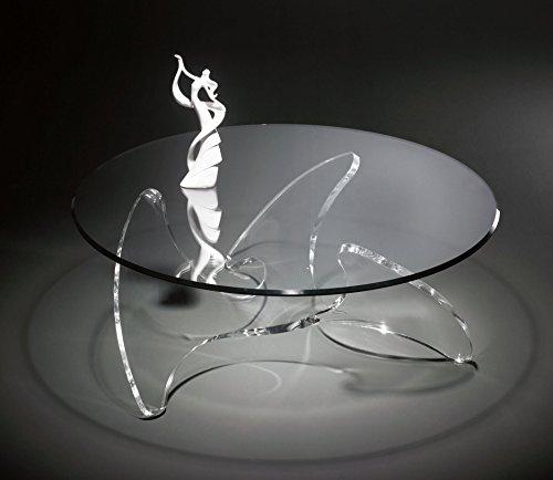 Hochwertiger Designer Couchtisch mit Glasplatte auf Acrylglasfuß ähnlich einer Schiffsschraube, Glasplatte mit Steilfacette geschliffen 12 mm, Ø 110 cm, H 42 cm, Acryl-Stärke 20 mm