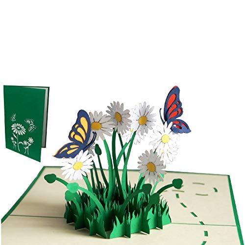 Catrnee Pop-Up Karten Geburtstag Blumen Pop-Up Grußkarte, 3D Grußkarten 3D Karte Klappkarte Geburtstagskarte Viel Glück Gute Besserung, Schmetterlinge, Margeriten