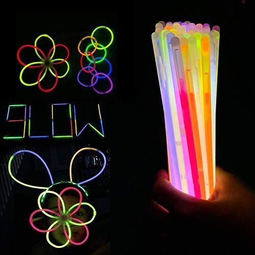 Trimming Shop Leuchtstäbe Party Packungen mit Anschlüsse für Neon Halskette, Fluoreszierendes Licht, Glühend Armbänder, Stirnbänder, Brille, Party Füllung, 100pcs - Mehrfarbig, 100 Glow Sticks