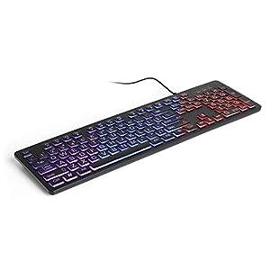 Aluratek Large Print Tri-Color USB LED Backlit Illuminated Keyboard (AKBLED01FS)