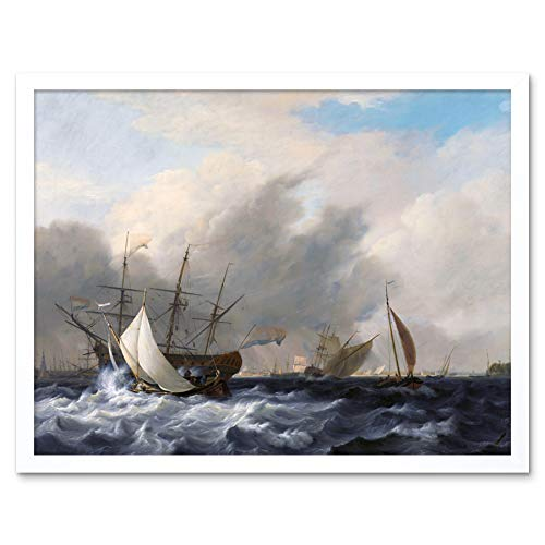 Baur Navys Man of War Amsterdam Ship Seascape Painting Art Print Framed Poster Wall Decor 12x16 inch Marine Krieg Schiff Seelandschaft Gemälde Wand Deko
