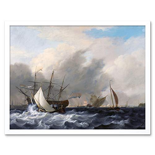 Baur Navys Man of War Amsterdam Ship Seascape Painting Art Print Framed Poster Wall Decor 12x16 inch Marine Krieg Schiff Seelandschaft Gemälde Wand Deko
