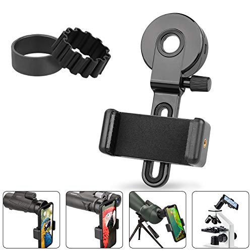NOCOEX Upgrade Universal Phone Adapter Mount - Compatible Binocular Monocular Spotting Scope Telescope Microscope - Fits Almost All Smartphone, Record The Beautiful Life - with 2 Adjusting Ring (B)