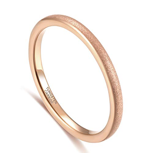 Greenpod 2mm Thin Rose Gold Tungsten Ring for Women Girls Dome...