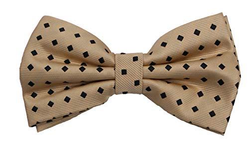 Fabio Farini - Elégant nœud papillon pour homme à pois pour toutes les occasions comme le mariage, la confirmation, le bal Or (Carré noir)
