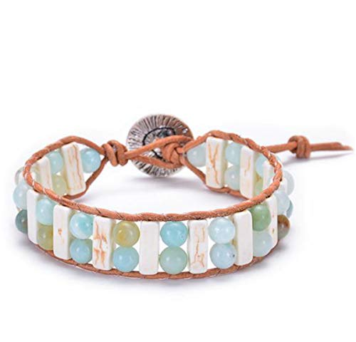 Kjiasiw Boho Leather Chakra Handmade Imperial Jasper Wrap Adjustable Bead Bracelet (Color 2)