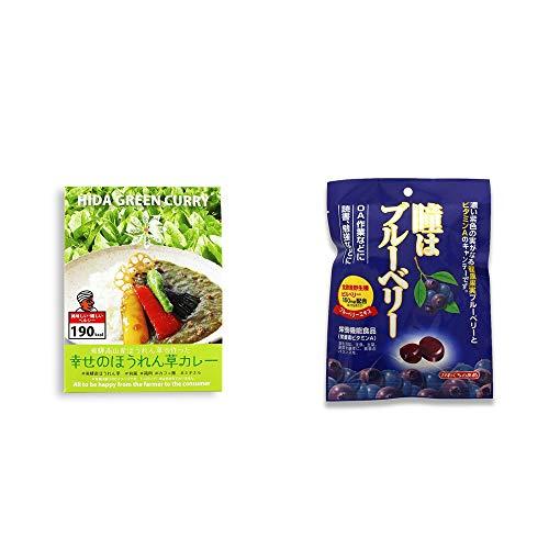 [2点セット] 飛騨産 幸せのほうれん草カレー(180g)・瞳はブルーベリー 健康機能食品[ビタミンA](100g)