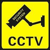 CCTV en Señales de Operación,6 PCS Señales de Advertencia de CCTV Pegatinas de CCTV Señales de CCTV Autoadhesivas Señales de Seguridad de Cámara de Advertencia 24 Horas Amarillo 110*110mm