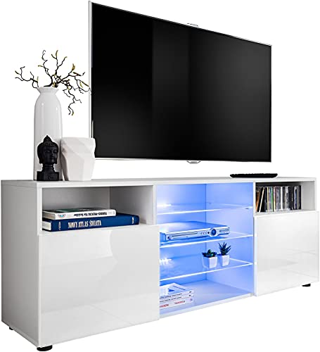 ExtremeFurniture Cabinet Media Center TV Console Stand Entertainment Furniture Modern Shelf LED (T38 / WW, white LEDs