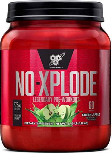 BSN N.O.-XPLODE Pre-Workout Supplement with Creatine, Beta-Alanine, and Energy, Flavor: Green Apple, 60 Servings