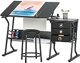 ZHFC Tavolo da Disegno sollevabile Tavolo da Disegno - Singolo Tavolo da Disegno per Studenti Doppio e Sedia Tavolo da Studio Sgabello Tavolo per Pittura