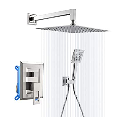 APPASO Shower System, 12 Inches Rain Shower Head with Handheld Spray, Rainfall Bathroom Shower Mixer Faucets Combo sets Complete, Wall Mount,Rough-In Valve Body and Trim Included, Brushed Nickel