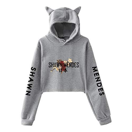 CTOOO 2018 Damen Shawn Mendes Gedenkkleid, Katzenohren Stil Hoodie Sweatshirt, Schwarz/Grau Langarm Pullover Jacke, XXS-XXL