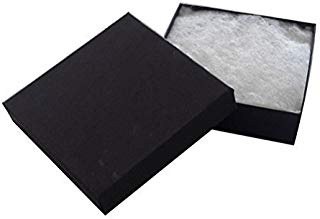 "JPI DISPLAY #33 Cotton Filled Boxes, 3.5"" L x 3.5"" W, Matte Black, 100 Count"