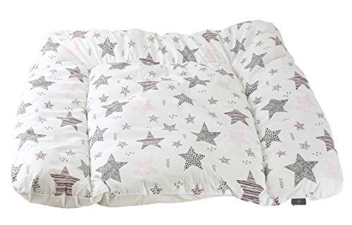 Clevere Kids Wickelauflage Sterne und Tiere 75x70 cm OEKO-TEX Standard 100 (Mustersterne rosa)