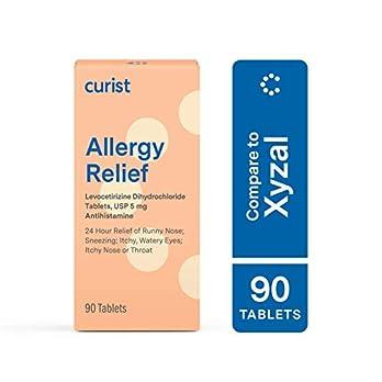 Curist – Generic Xyzal Levocetirizine 5 mg – (90 Tablets) – Allergy Pills, 24 Hour Allergy Relief – Allergy Medicine