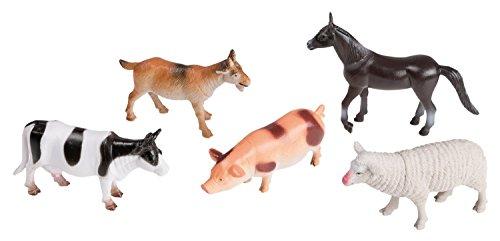 Idena 4329903 - Spielfigurenset mit 5 Farmtieren, aus Kunststoff, jeweils ca. 10 cm groß, Spielspaß für die Badewanne, den Sandkasten, im Kindergarten und Kinderzimmer