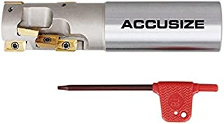 Accusize Industrial Tools 1'' Heavy Duty Helical Indexable Weldon Shank End Mill, Apkt11t3 Carbide Inserts, 1'' by 1'' by 4-1/4'', 5508-0002