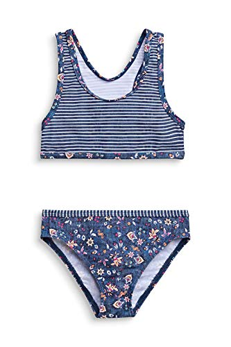 ESPRIT Mädchen Long Beach MG Bustier+Brief Bikini-Set, 420/GREY Blue, 128/134