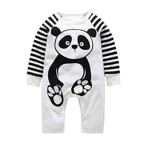 E-House Panda benodigdheden Geschenken Leuke Panda Katoen Baby Romper Hoed Tweedelige Herfst Winter Jumpsuits Kleding Set - Wit 70 cm (0-3M) White80cm(3-6M)