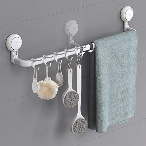 Ulinek Verstellbarer Handtuchhalter ohne Bohren mit 5 abnehmbaren Handtuchhaken, 64cm / 36cm Handtuchstange Wand mit Octopus-Saugnapf Max 10 KG Belastbarkeit, rostfreie Badetuchhalter für Bad Küche