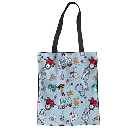 POLERO Bolsa de la compra de lona de algodón, bolsa de la compra, bolsa de tela de algodón con dibujos animados, estampado para niña, mujer, enfermera, trabajo diario (negro), azul-2, 42x34cm
