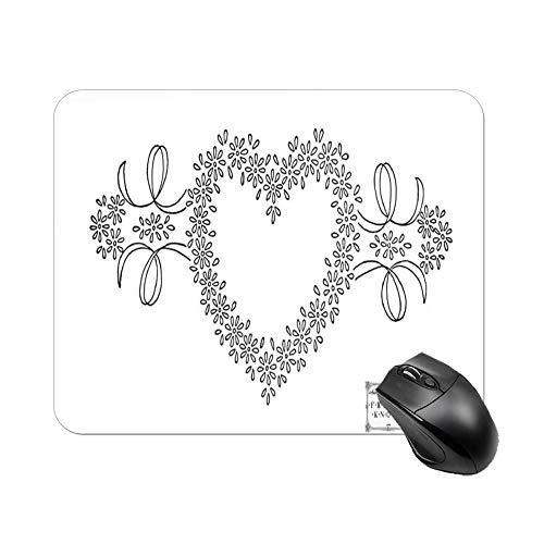 Daisy Love Heart - Alfombrilla de ratón para ordenador portátil y escritorio (25 x 20 x 2 cm)