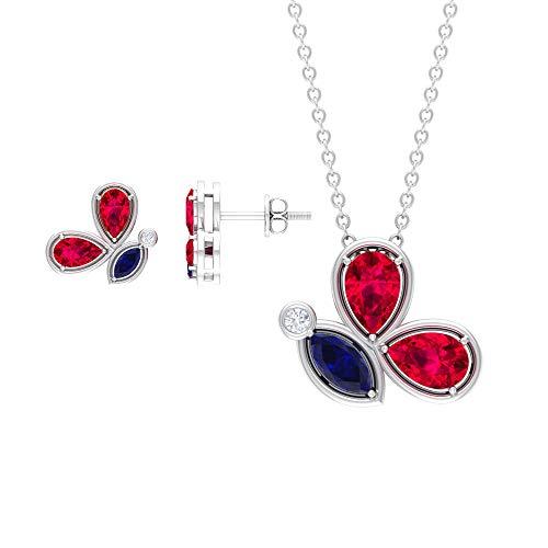 Rosec Jewels 18 quilates oro blanco marquesa round-brilliant-shape H-I Blue Diamond Blue Sapphire