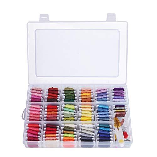 Kit Bordado con Caja Organizadora 100 Colores Bobinas Hilo Punto de Cruz - 30 Agujas, 2 Enhebradores, 2 Dedales, 1 Tijeras, 1 Herramienta para Desenredar, Alfileres