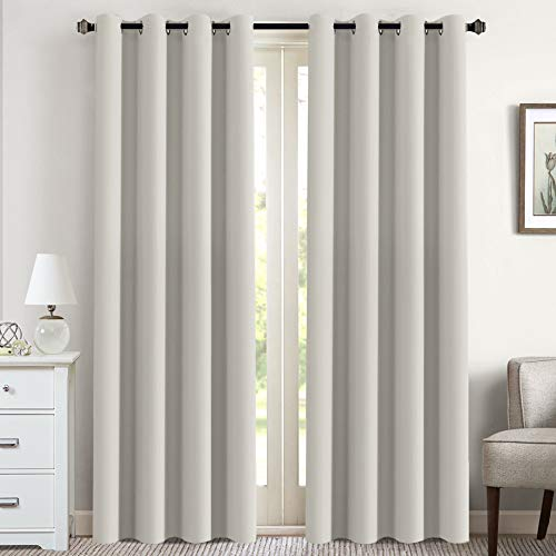 Flamingo P Elegant White Curtains Pair for Living Room Window Treatment Energy Saving Thermal Insulated Grommet Curtain Drapes for Dining Room (1 Pair, 52 x 96 Inch in Greyish White)