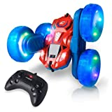 Force1 Cyclone LED Remote Control Car for Kids - Double Sided Fast RC Car with Bright LED Tires, Off-Road RC Stunt Car with 360 Flips, Spins, Drifts; 2.4GHz Remote Control and 2 Rechargeable Batteries