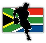 10cm Feuille adhésive résistant intempéries Afrique du Sud Drapeau Rugby Player Sport G808 UV&résistant Station Lavage:Sticker/Autocollant/Decal-Voiture