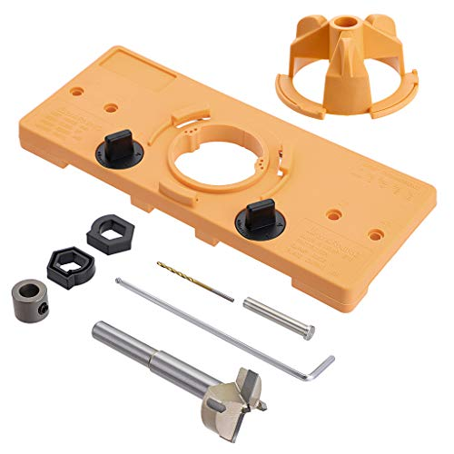 OwnMy 35mm Concealed Hinge Jig Guide Locator Kit with Drill Bit - Hinge Drilling Hole Router Jig Hardware Template Guide Woodworking Tools for Kitchen Cabinet Doors Hinge (Orange)