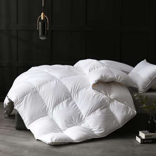 APSMILE European Goose Down Comforter King Size Luxurious All Seasons Duvet Insert - Ultra-Soft Egyptian Cotton, 54 Oz 750FP Fluffy Medium Warmth, (106x90,Solid White)