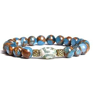 Energy Blue Natural Brazil Sapphir Armband Vintage Buudha Tibetan Dzi Achate Charm Armband Für Frauen Männer Yoga Tianzhu Schmuck 19Cm
