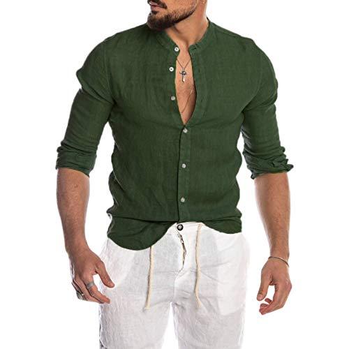 Camisa de Manga Larga con Solapa para Hombre, Cuello Alto de Moda, Estilo clásico con Botones de un Solo Pecho, Ropa de Calle, Ajuste Regular, Blusa básica L