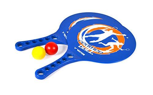 VICTOR Featherball Set Premium – Beachball Set + 2 Kunststoffschläger + 2 Bälle