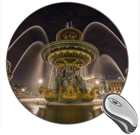 Frankreich Paris Brunnen Nachtdruck Runde Desktop-Mauspad Gaming Rubber Mouse Pad