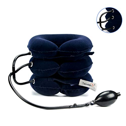 Dispositivo de tracción Cervical para el Cuello, Cuello Inflable y Ajustable (Azul)
