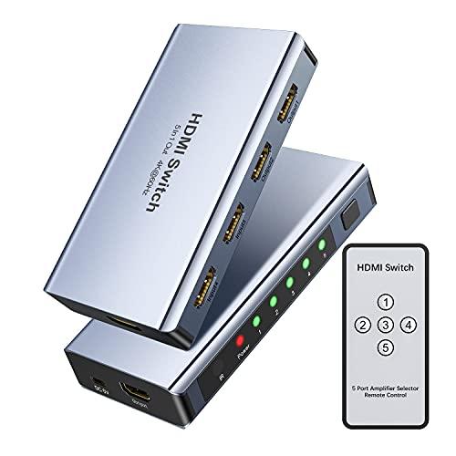 HDMI Switch 4k@60HZ HDMI Splitter, WENTER Aluminium HDMI Switch 5 in 1 Out, HDMI Umschalter mit IR Fernbedienung Unterstützt 3D HD1080P, HDMI Switcher für PS4 Xbox HDTV Blu-Ray Player