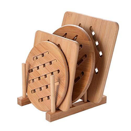 Cozywind Topfuntersetzer Untersetzer aus Bambus-Holz 4er Topf Untersetzer Hitzebeständig Pfannenuntersetzer-Set mit Abtropfgestell für Küche Schüssel Töpfe und Pfannen (15cm+18cm)