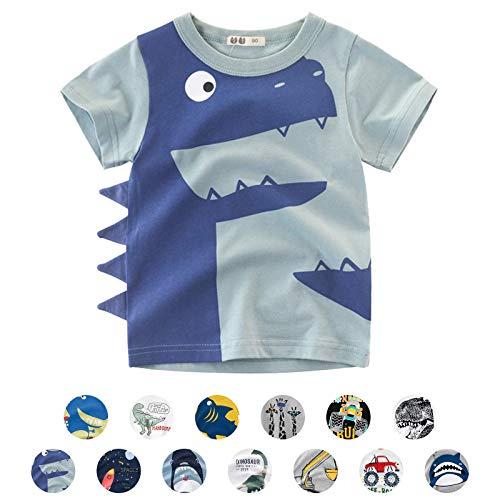 Unisexo Bebé Niños Dibujos Animados Animal Modelo Camiseta Dinosaurio/Tiburón/Coche Verano Corto Manga Tops (4-5 Años, C-Verde Claro)