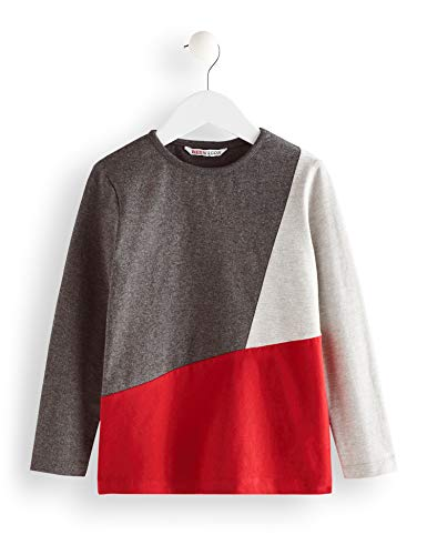 Amazon-Marke: RED WAGON Jungen Langarmshirt Panel Long Sleeve Top, Grau (Grey), 104, Label:4 Years