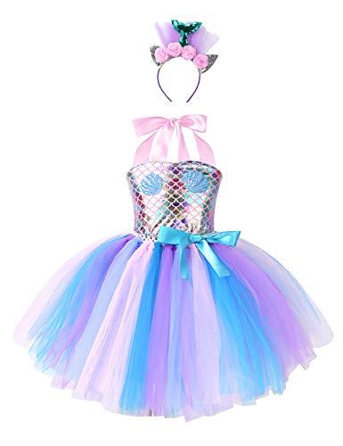 YiZYiF Mädchen Meerjungfrau Kostüm Glitzer Pailletten Prinzessin Kleid Mesh Tutu Rock Cosplay Karneval Fasching Party Kostüm mit Haarband gr.92-152 Rosa 116-122
