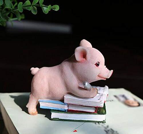 starbluegarden Amusing Mini Learning Pig Statue Figurine Ornament Fairy Garden Decor for Bookshelves Flowerpots