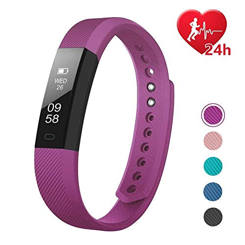 Horloge Mode Fitness Tracker HR, Activiteit Tracker met Stappenteller en Calorie Counter Stappenteller, Slank Hartslagmeter voor Kids Vrouwen Mannen