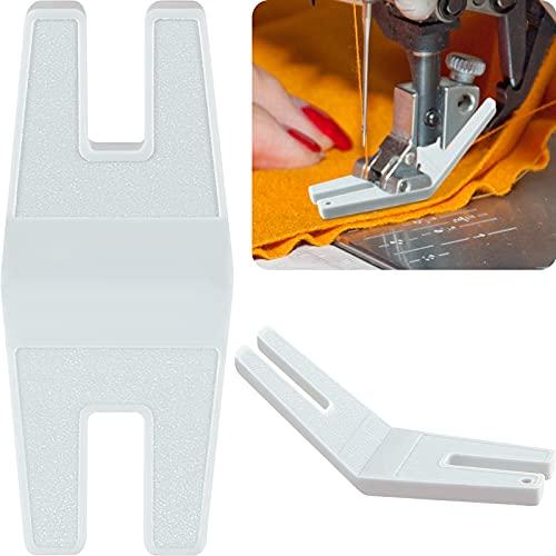 2 Piezas Prensatelas para Máquina de Coser de Ayuda para Costuras Voluminosas Herramienta de Prensatelas de Plástico para Puntadas Rectas Accesorio Blanco de Guía de Costura para Bordado